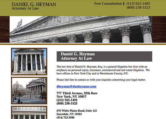 Daniel G. Heyman Esq. legal website